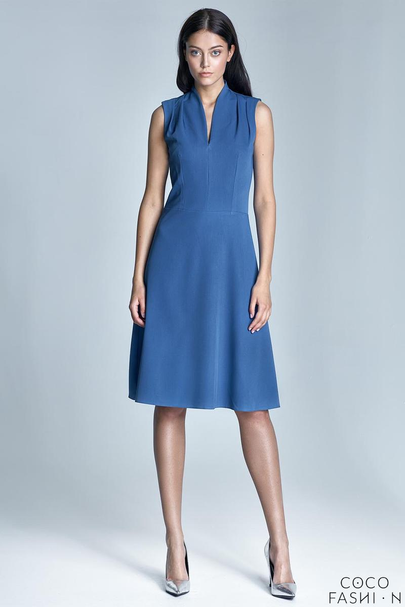 Blue V-Neckline Midi Dress