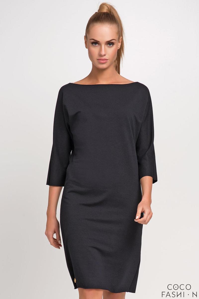 Black Simple Little Boat Neckline Dress