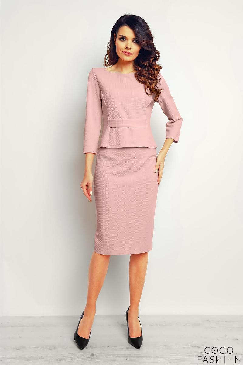 Pink Elegant Pencil Midi Skirt