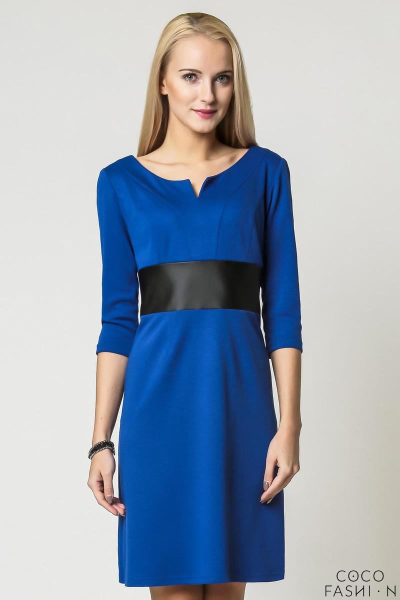 cornflower blue elegant eco leather black waist office dress