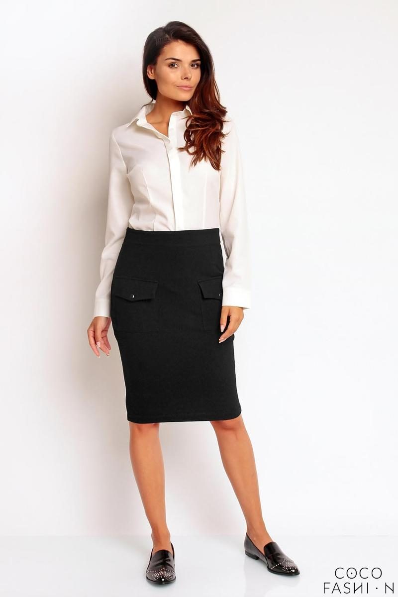 Black Slim High Waist Front Pockets Skirt
