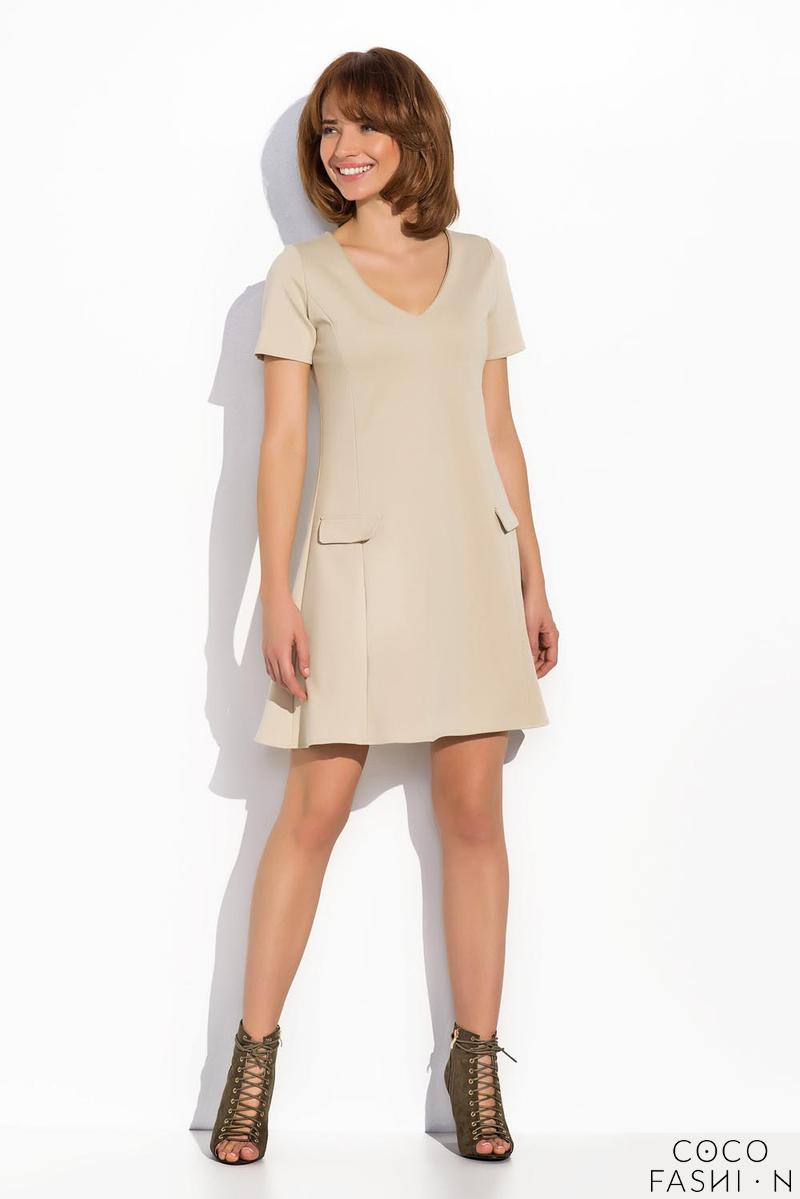Beige Flared V-Neckline Short Sleeves Dress