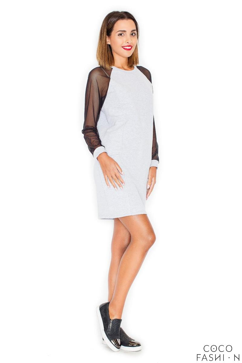 Grey Casual Mini Dress with Transparent Sleeves