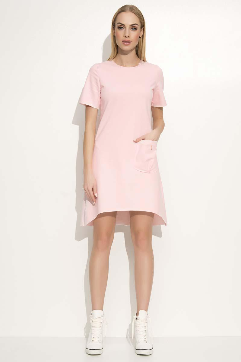 Pink Dipped Hem Casual Dress