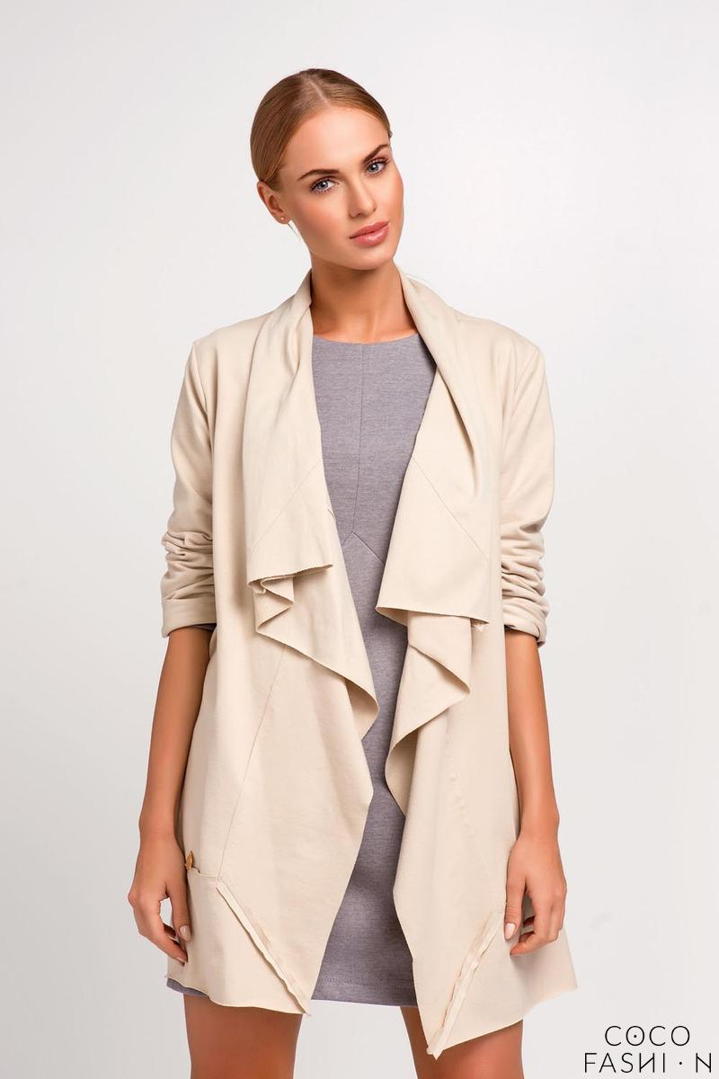 Beige Loose Lapels Ladies Cardigan