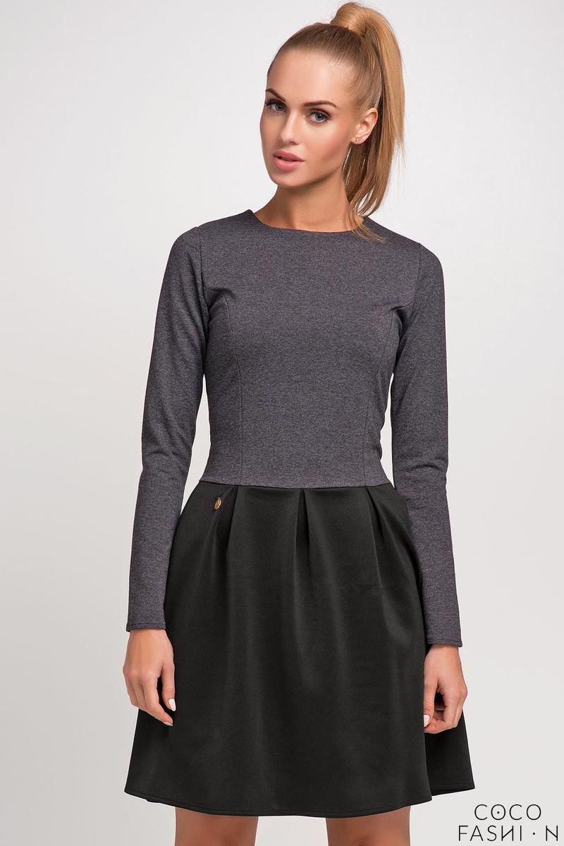 Dark Grey Long Sleeves Flared Skirt Casual Dress