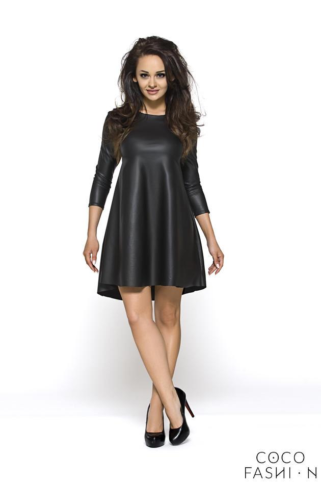 black-glossy-tunic-party-short-dress