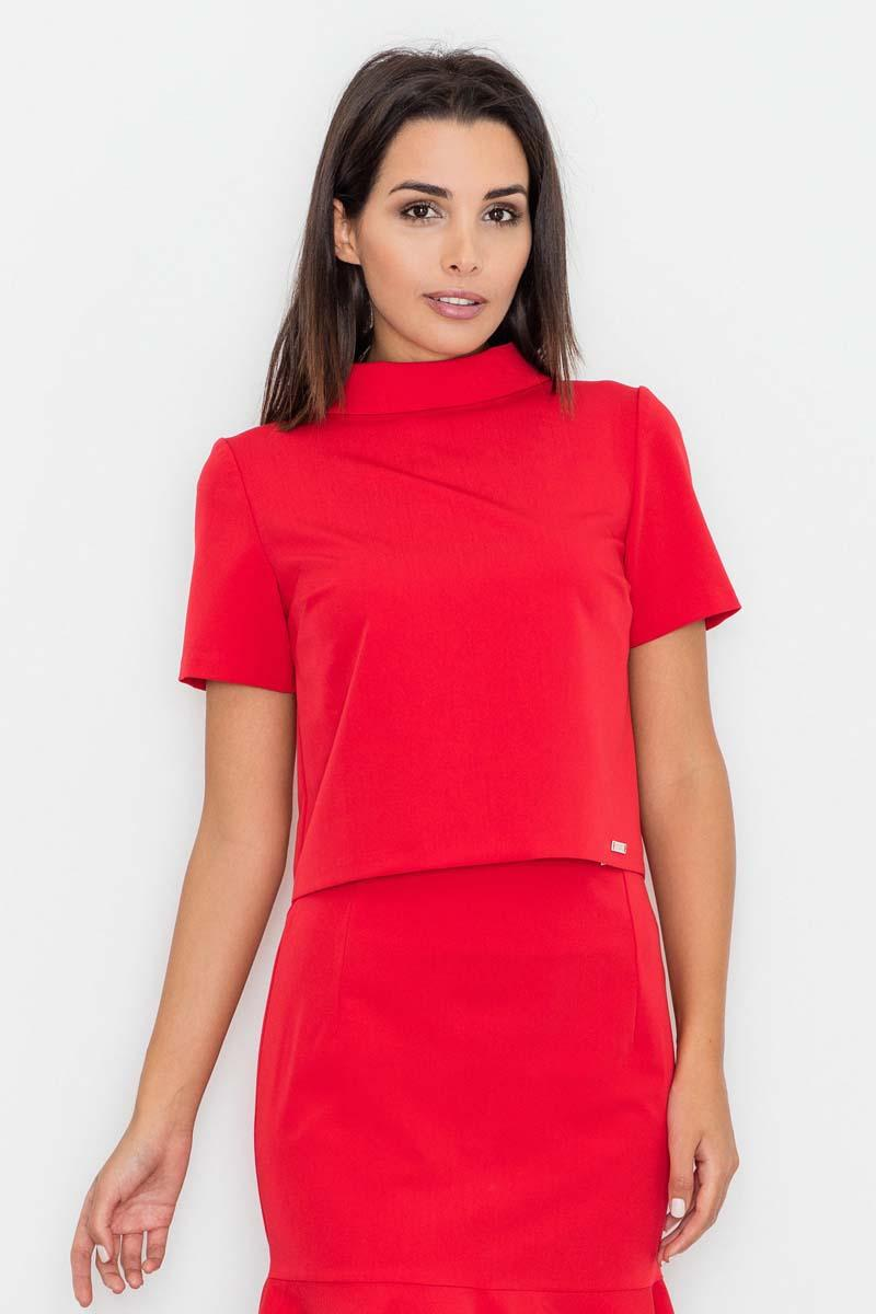 red-short-sleeves-tourtleneck-blouse