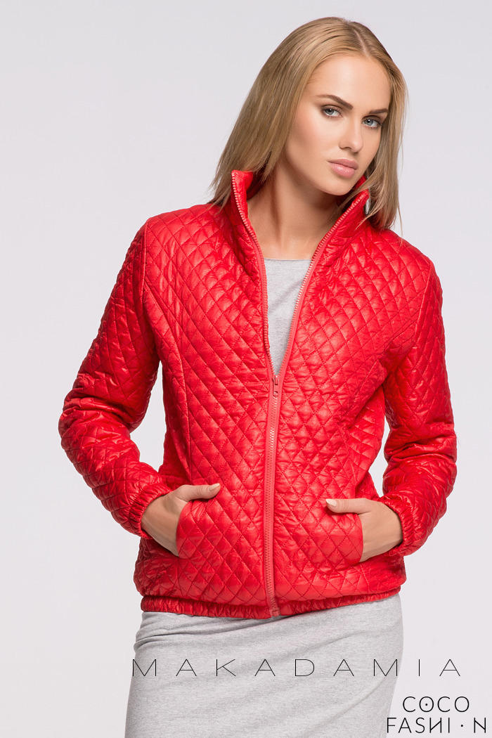 Red Light Padding Stand-up Collar Short Jacket