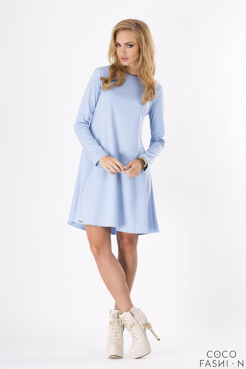 Light Blue Plain Long Sleeves Dress