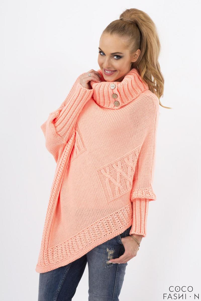 Apricot Loose Asymetrical Tourtleneck Sweater