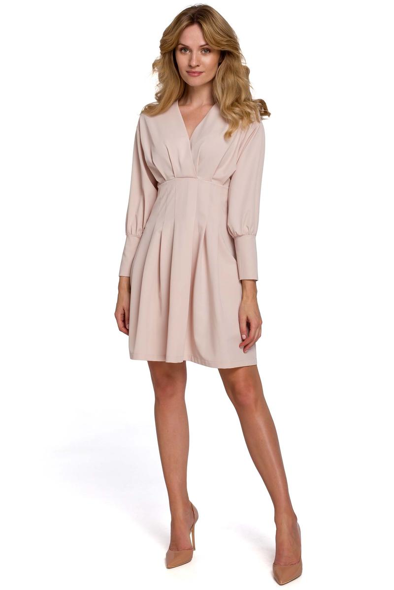Beige Wrap Front Long Sleeves Dress