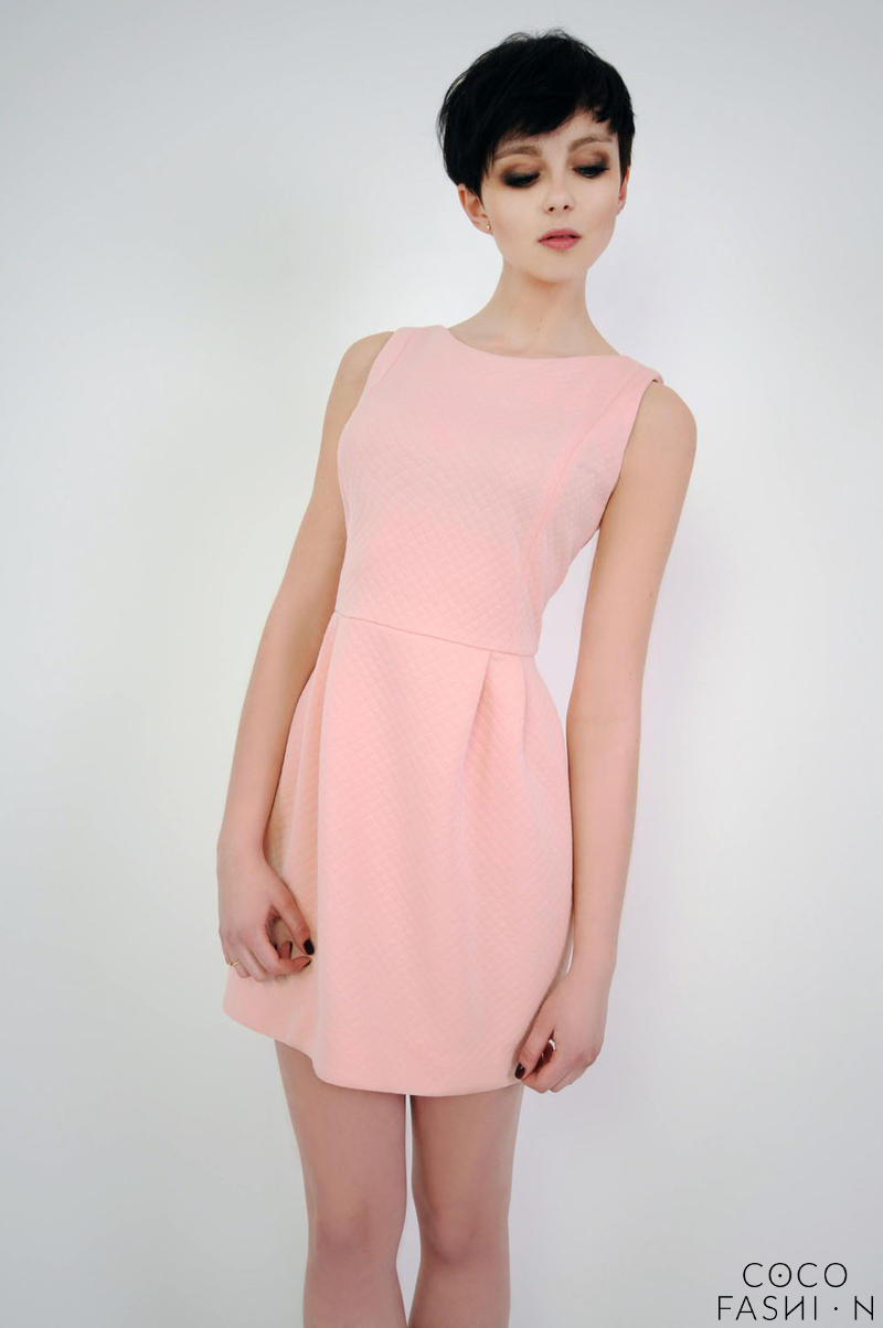 Pink Simple Mini Sleeveless Dress