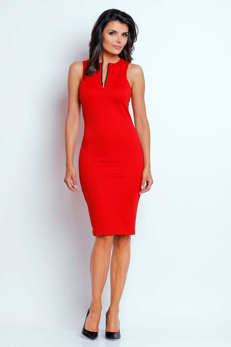 Red Pencil Summer Dress with Contrast Zipper