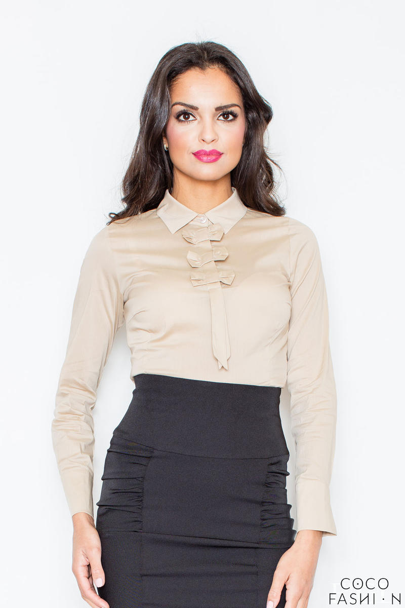 Petite Collared Vintage Bow Neck Beige Shirt