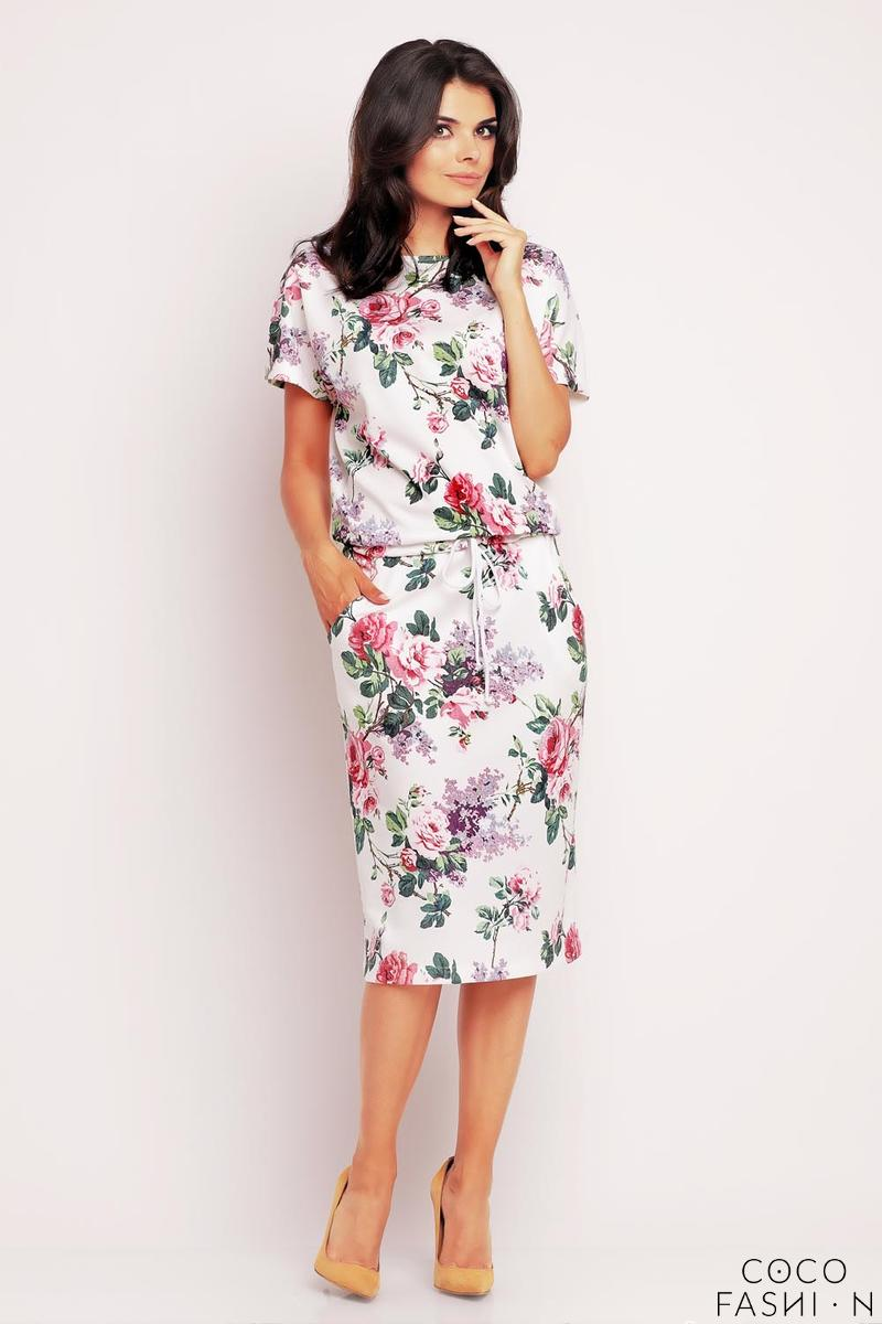 white-pink-floral-print-midi-dress-with-side-pockets