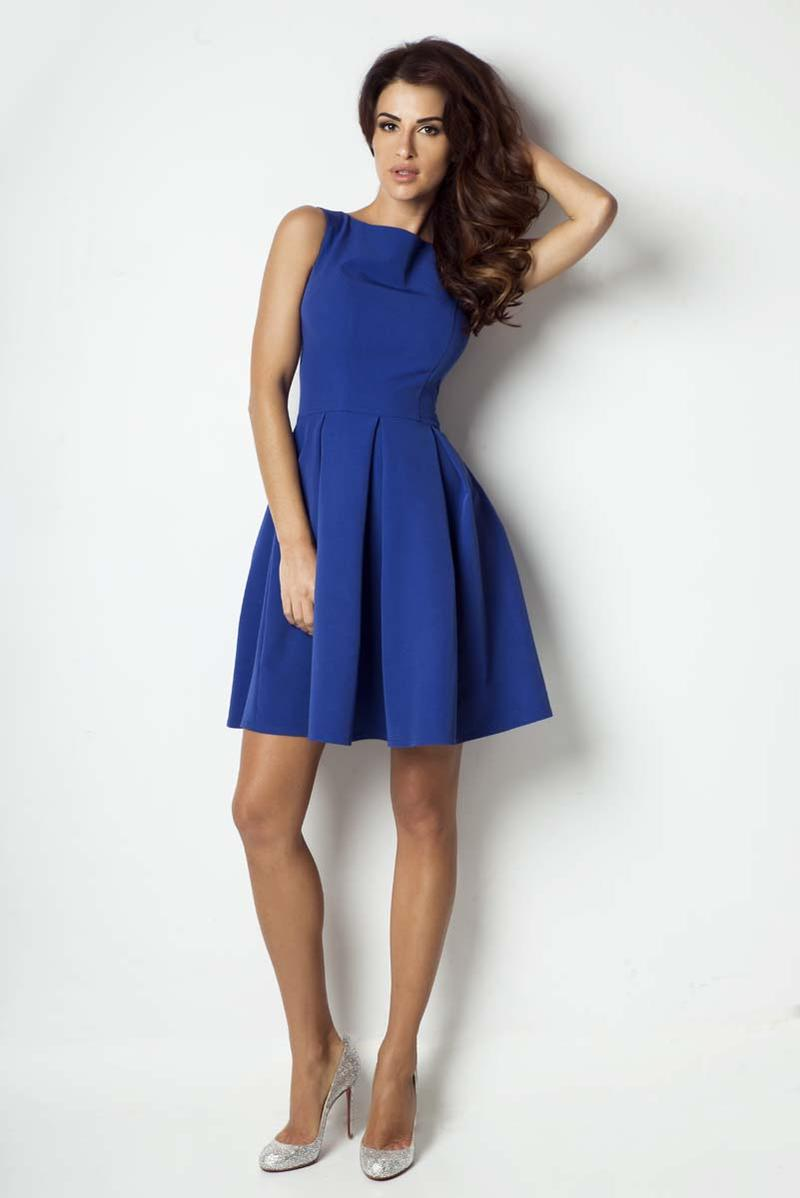 Blue Light Pleats Coctail Dress