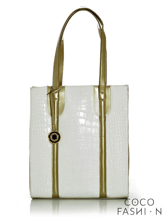 White&Gold Snake Skin Elegant Ladies Hand/Shoulder Bag