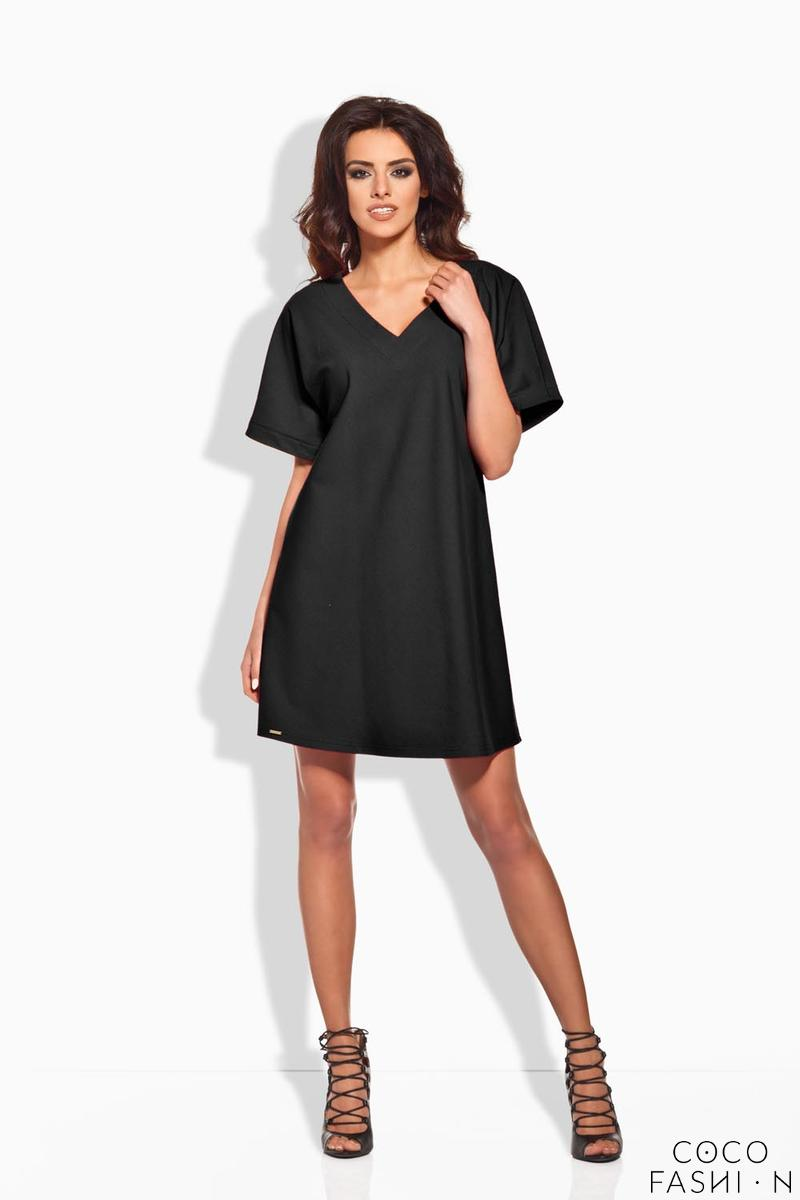 Black Relaxed Fit Short SLeeves Mini Dress