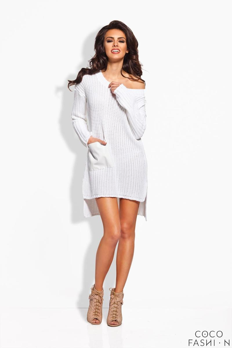 White Knitted Tunic With Leather Pocket