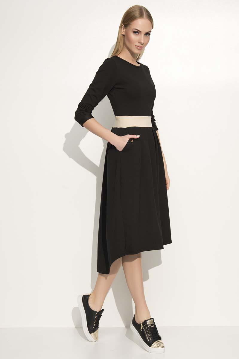 Black Asymetrical Midi Dress with Contrasting Waist