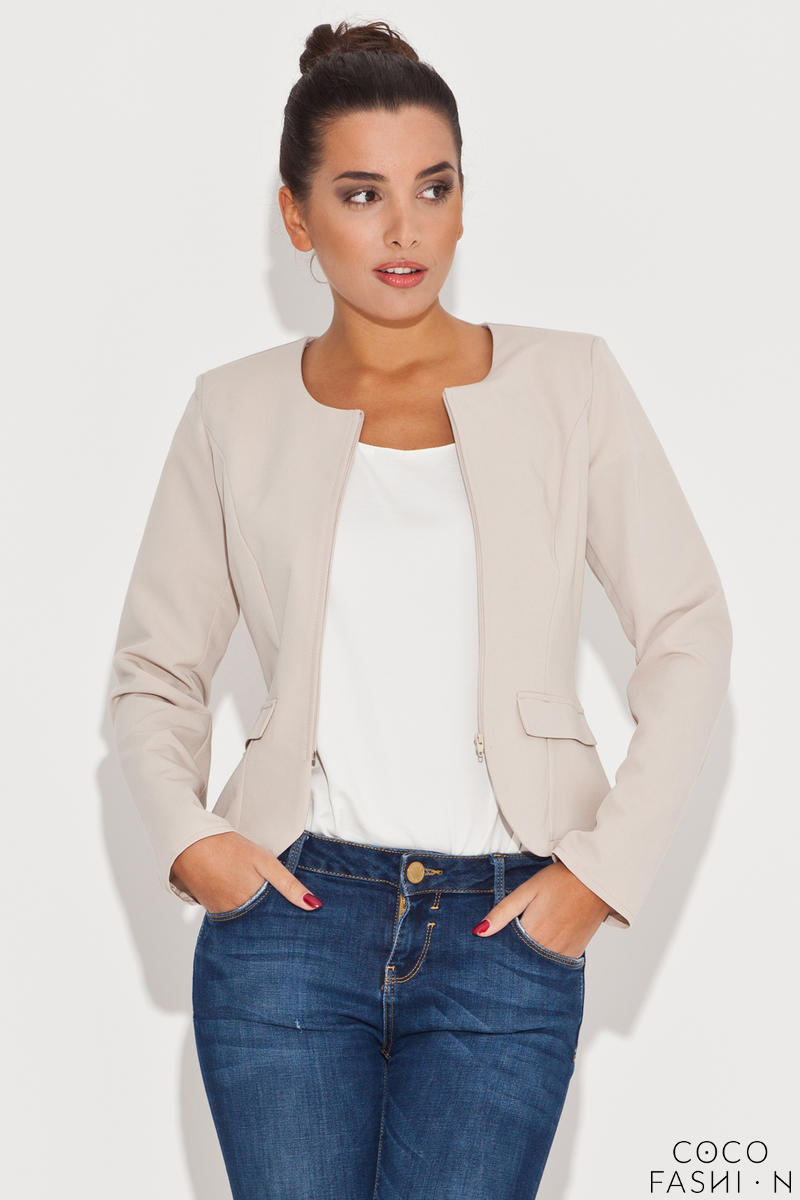 Round Neck Beige Blazer with Semi Zipper Fastening