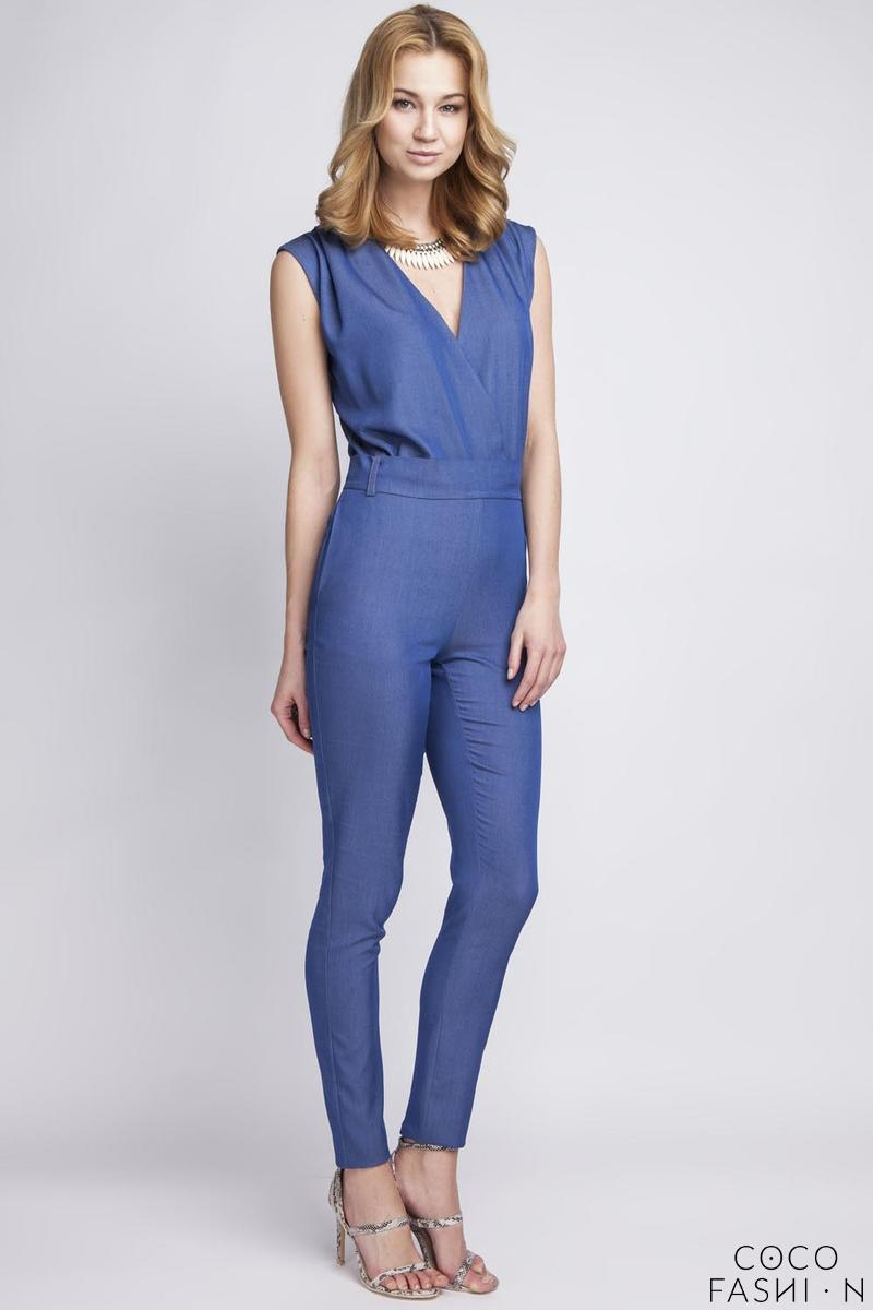 Blue Jeans Fitted V-Neckline Ladies Jumpsuit