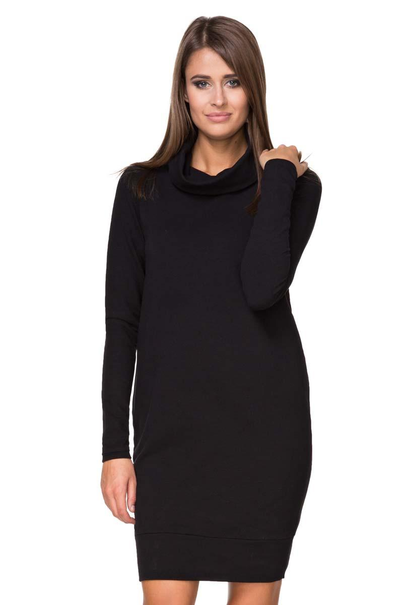 Black Casual Mini Dress with Tourtleneck