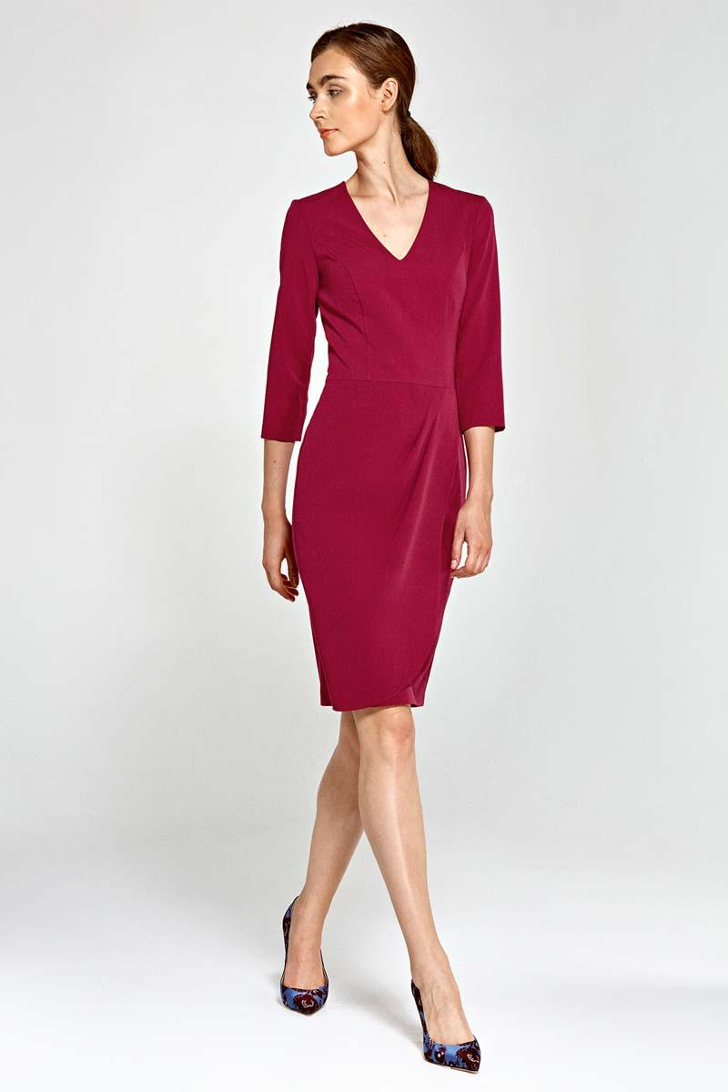 dark-red-classic-office-style-dress