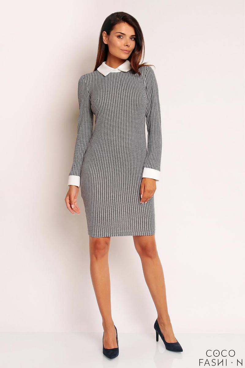 Houndstooth Pattern Bodycon Fit Shirts Style Collar&Cuffs Dress
