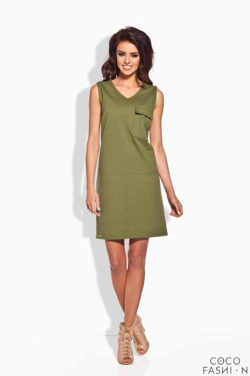 Khaki Sporty Casual Style Dress With Pocket