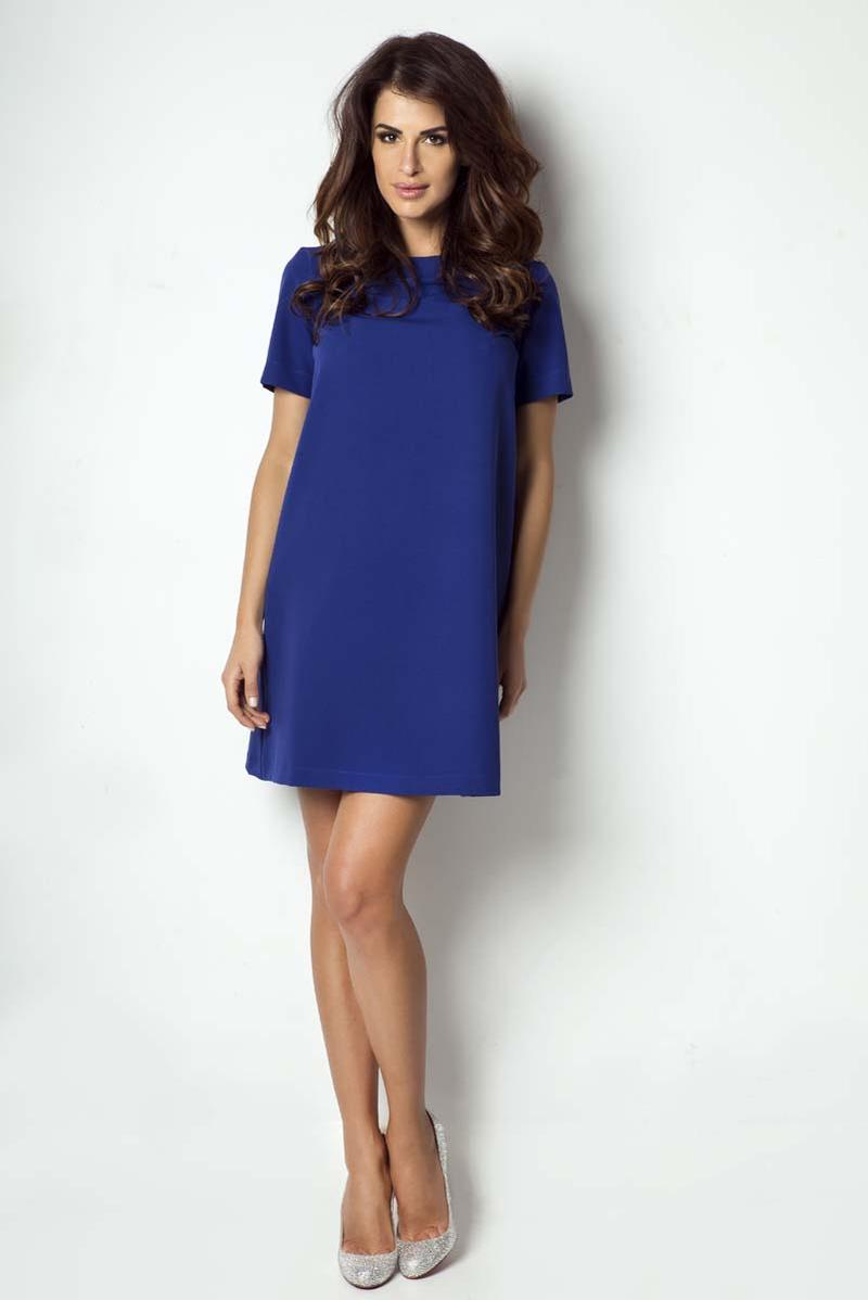 Blue Flared Classic Short Sleeves Dress