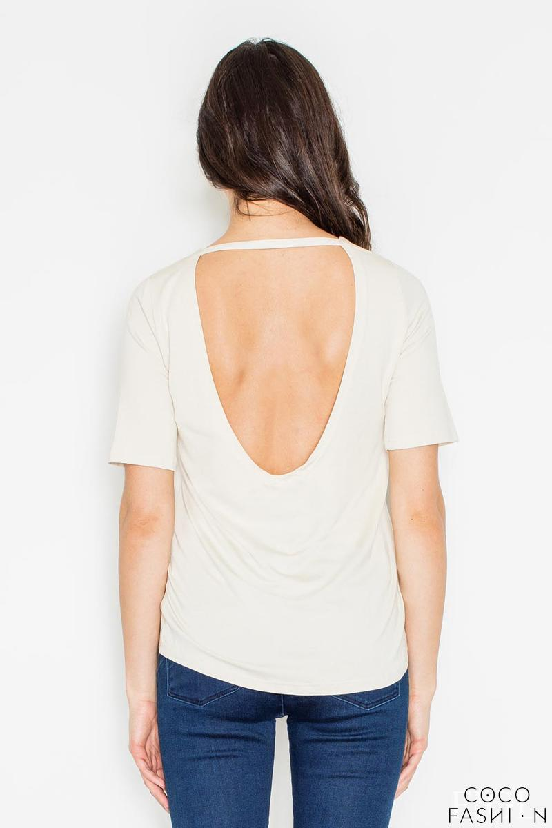 Beige Classic Style Cut Out Back T-shirt