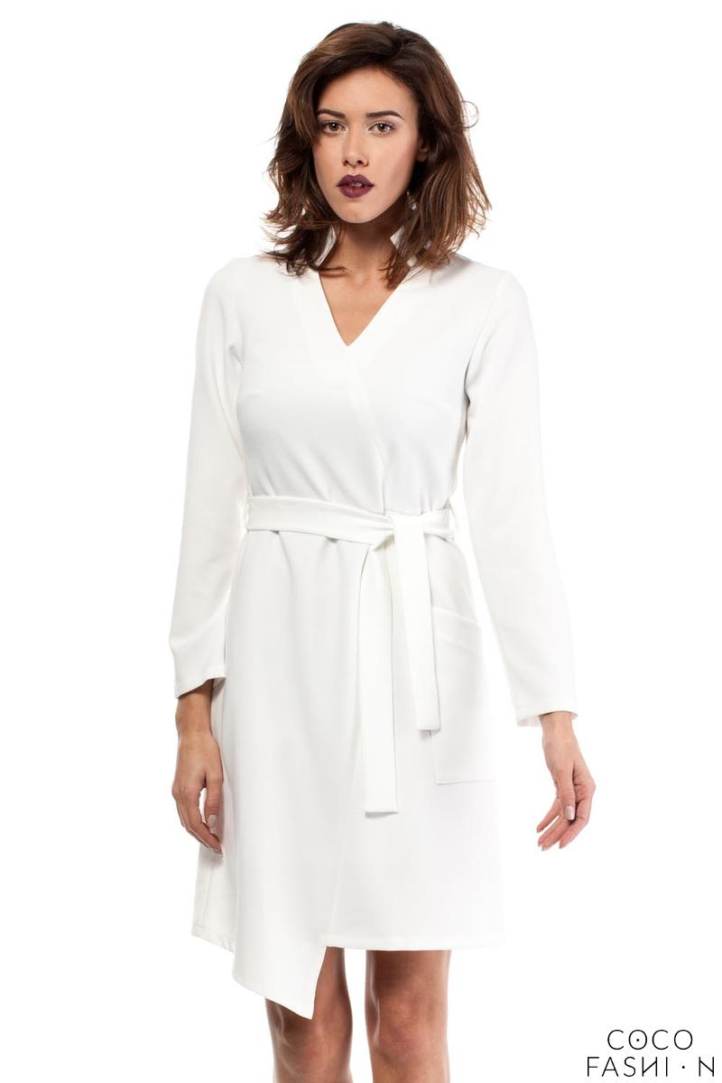 Ecru Asymmetrical Cut V-Neckline Dress with a Belt