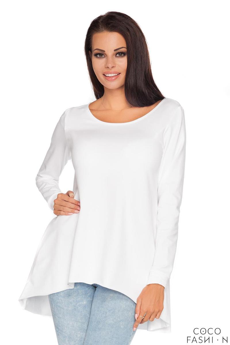 White  Long Sleeves Blouse with Dipped Hem