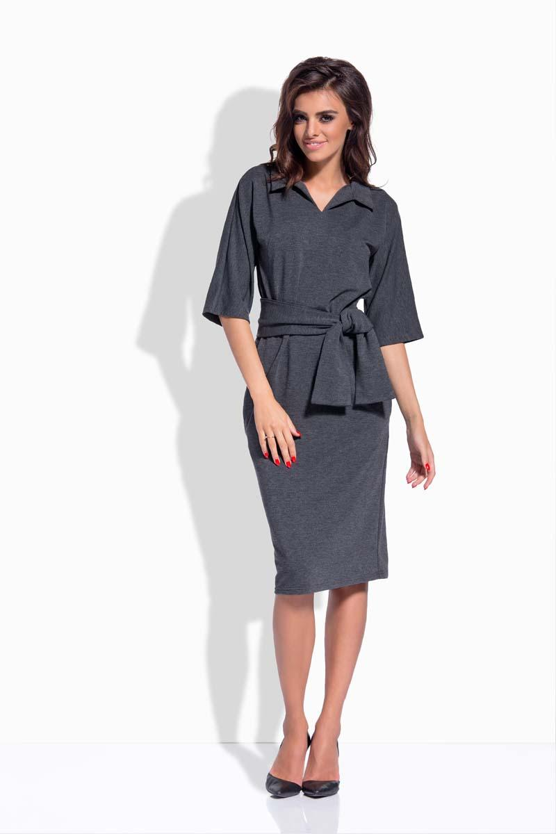 Dark Grey Pencil Midi Belted Dress
