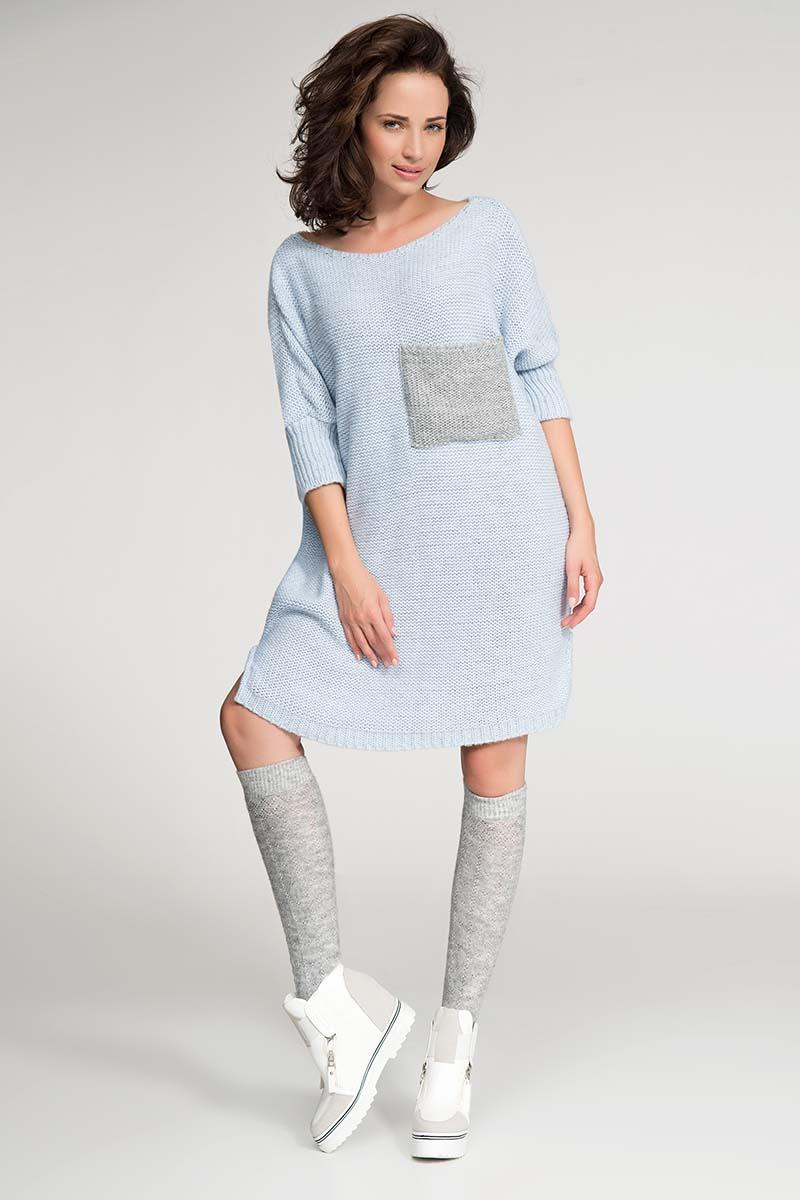 Light Blue Long Tunic Style Sweater