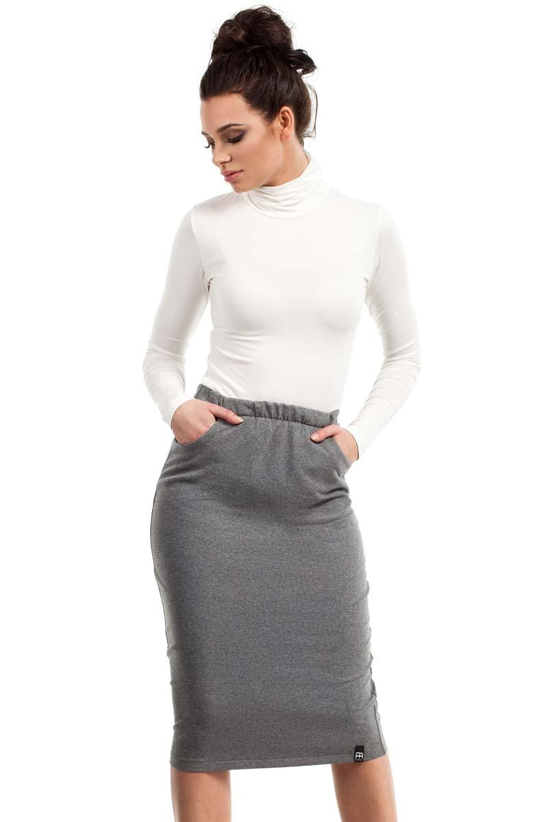 Grey Bodycon Fit Midi Skirt