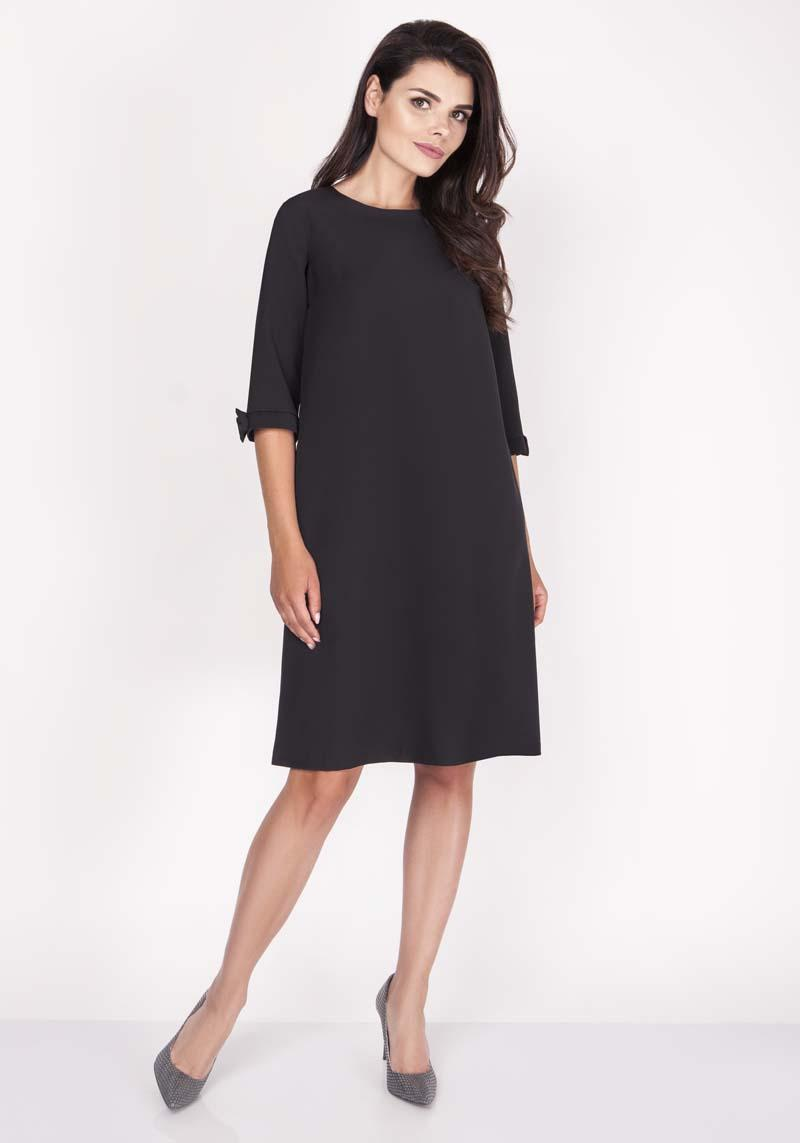 Black Trapezoidal Dress Mini with Lovely Bows