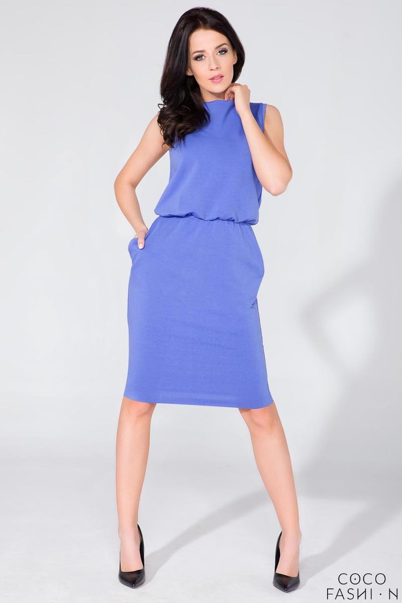Blue Sleeveless Side Pockets Casual Dress