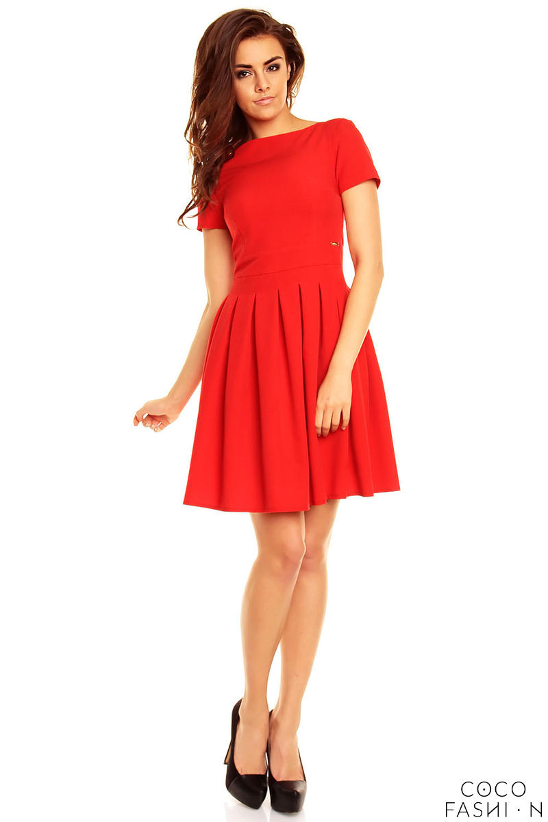 red-pleated-seam-dress-with-metallic-emblem
