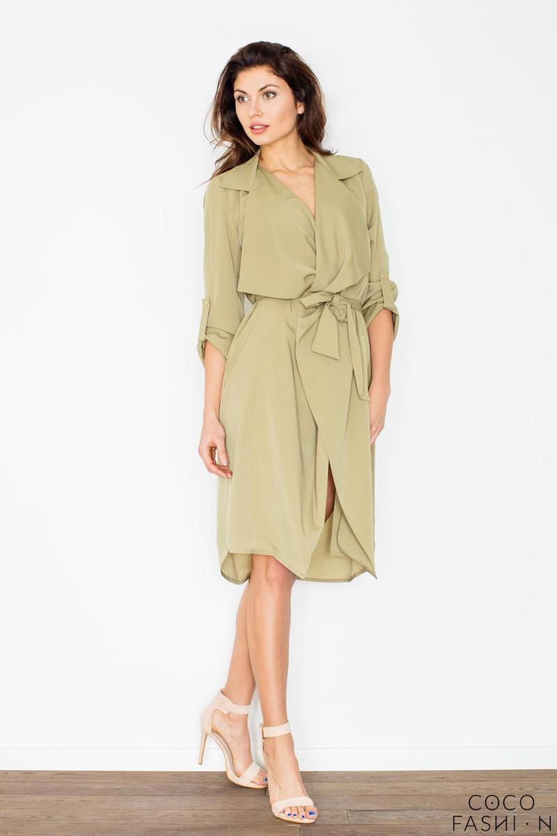 Green Coat Style Belted Dress