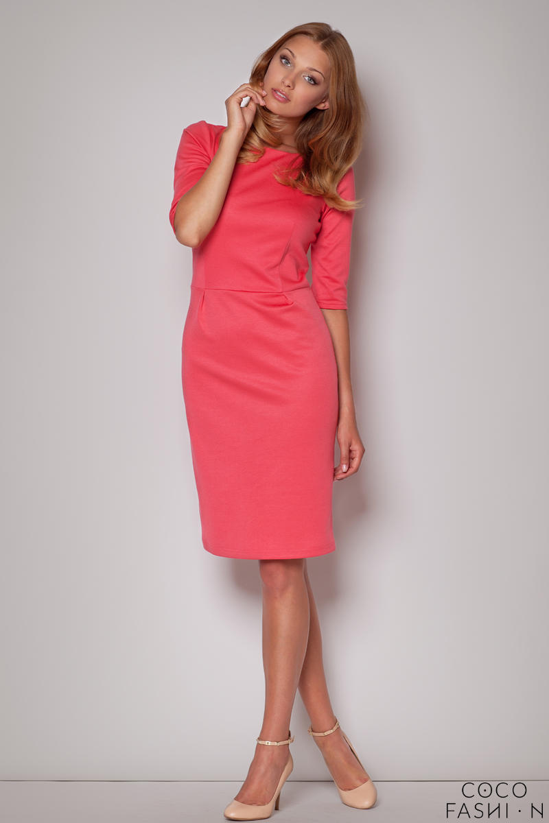 elbow-sleeves-seam-shift-coral-dress