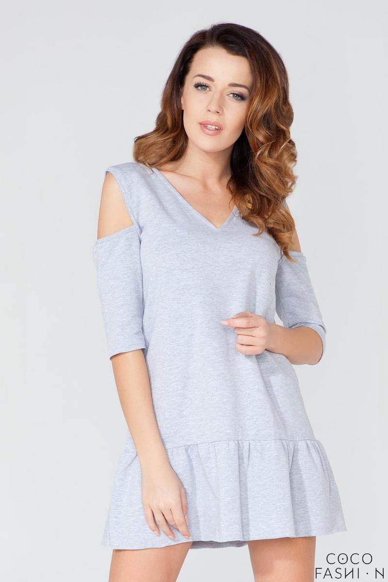 Light Grey Mini Dress with Cut Out Shoulders