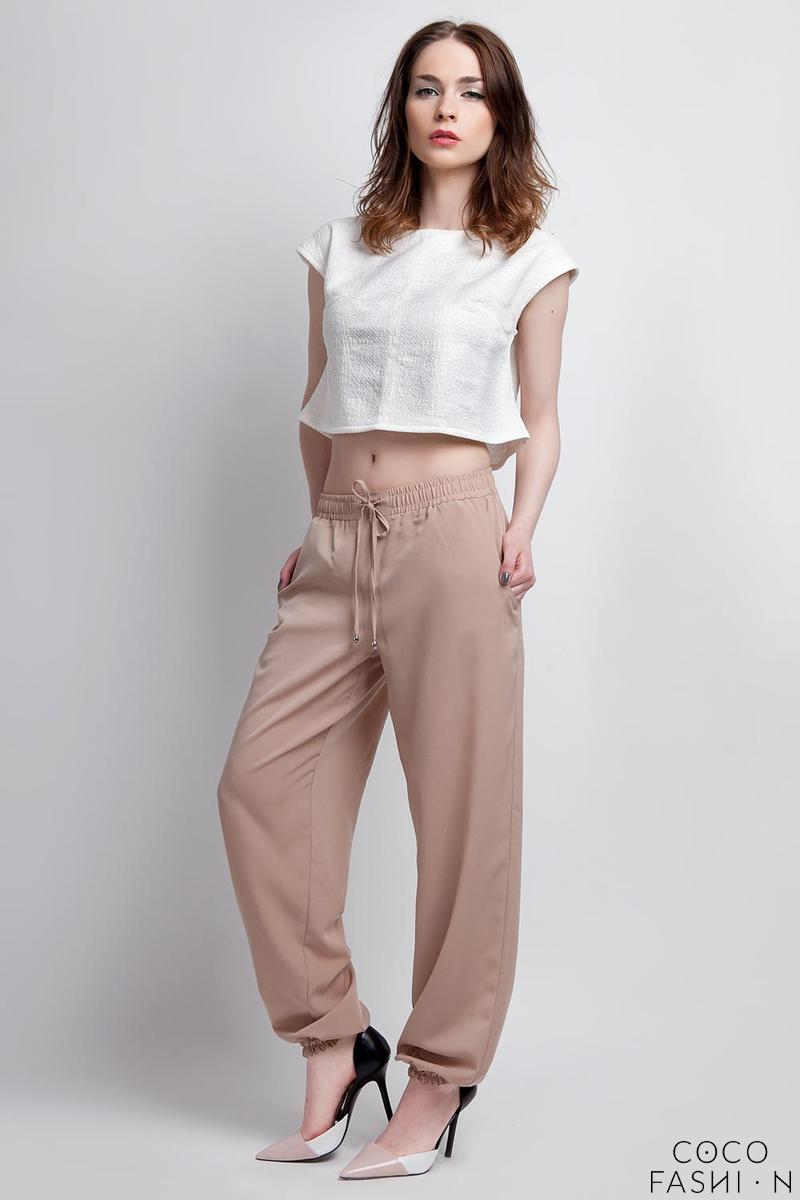 Beige Wide Legs Pants with Drawstring Waist