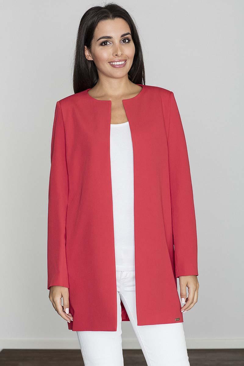 red-round-neckline-open-ladies-blazer