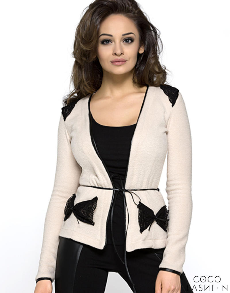 lace-lapel-beige-cardigan-with-bow-side-pockets