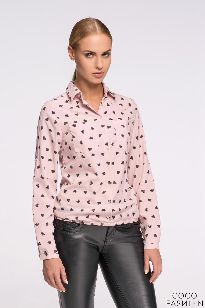 Powder Pink Casual Ladies Shirt with Hearts Pattern от cocofashion