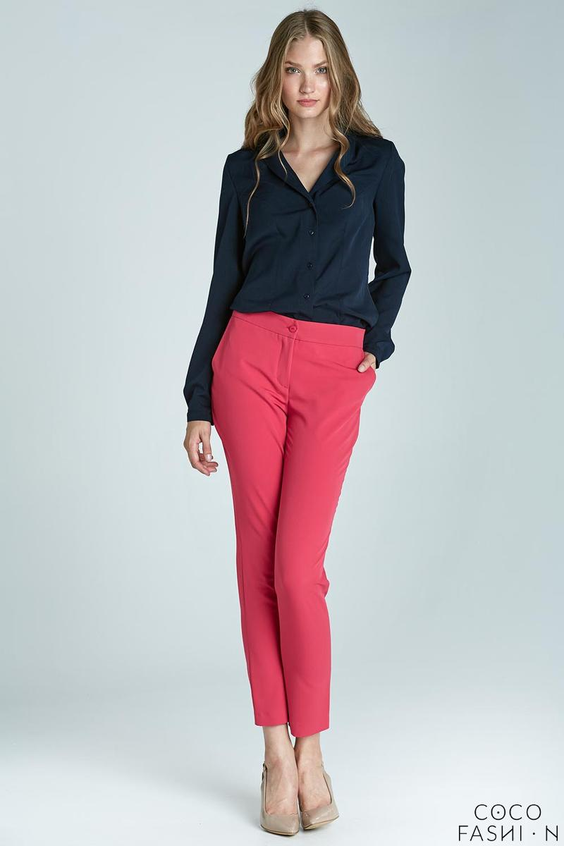 Pink Elegant Classic Business Style Slim Pants