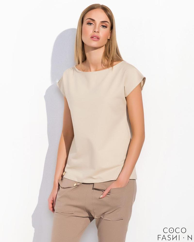 Beige Classic Plain Ladies T-shirt
